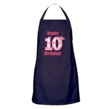 Happy 10th Birthday - Pink Argyle Apron (dark)