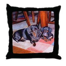 Sadie & Puppy Harley Throw Pillow