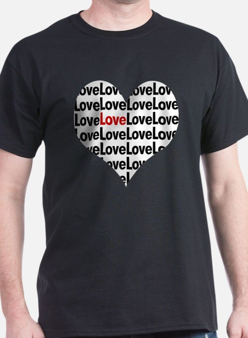 Heart shaped love in red and black T-Shirt