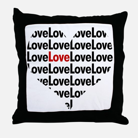 Heart shaped love in red and black Throw Pillow