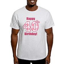Happy 40th Birthday - Pink Argyle T-Shirt