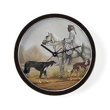 Arabian Bedouin Hunting with Two Saluki Wall Clock