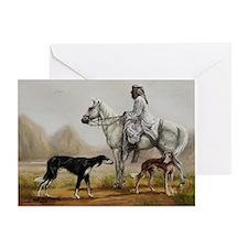 Arabian Bedouin Hunting with Two Sal Greeting Card