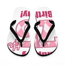 Happy 75th Birthday - Pink Argyle Flip Flops