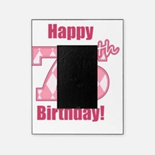 Happy 75th Birthday - Pink Argyle Picture Frame