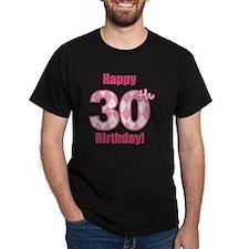 Happy 30th Birthday - Pink Argyle T-Shirt