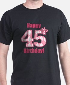 Happy 45th Birthday - Pink Argyle T-Shirt
