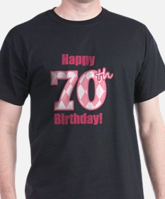 Happy 70th Birthday - Pink Argyle T-Shirt