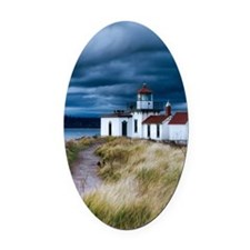 stormy lighthouse Oval Car Magnet