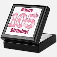 Happy 105th Birthday - Pink Argyle Keepsake Box