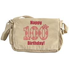 Happy 100th Birthday - Pink Argyle Messenger Bag
