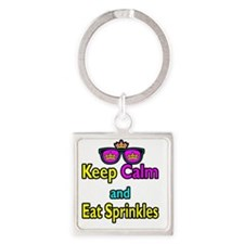 Crown Sunglasses Keep Calm And Eat Square Keychain