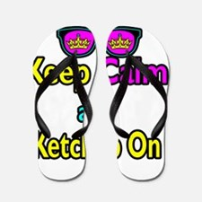 Crown Sunglasses Keep Calm And Ketchup  Flip Flops