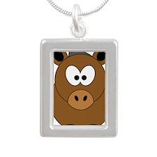 Happy Horse Silver Portrait Necklace