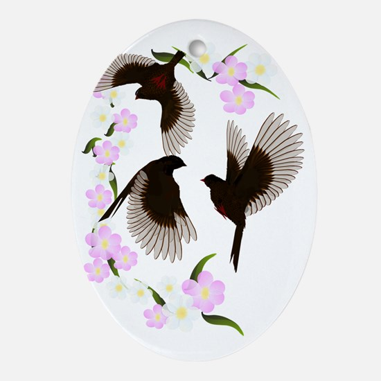 Three Sparrows Trans Oval Ornament