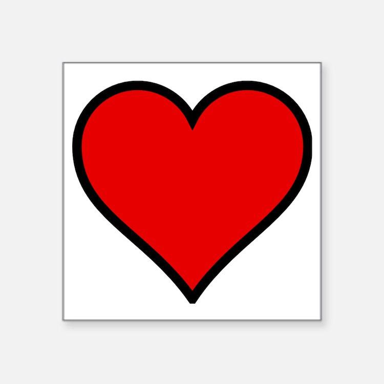 """Love Heart Square Sticker 3"""" x 3"""""""