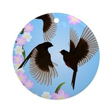 Three Sparrows Round Ornament