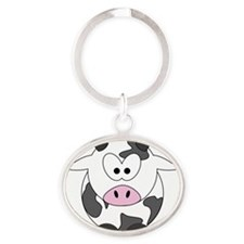 Happy Cow Oval Keychain