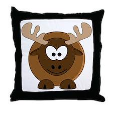 Happy Moose Throw Pillow