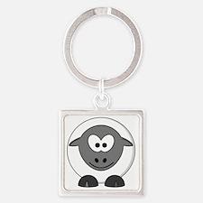 Happy Sheep Square Keychain