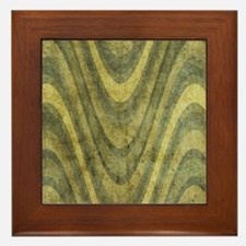 1 flowers green waves Framed Tile