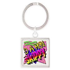 Damn Skippy Square Keychain