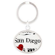 San Diego Loves Me Oval Keychain