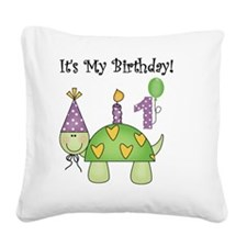 Turtle 1st Birthday Square Canvas Pillow