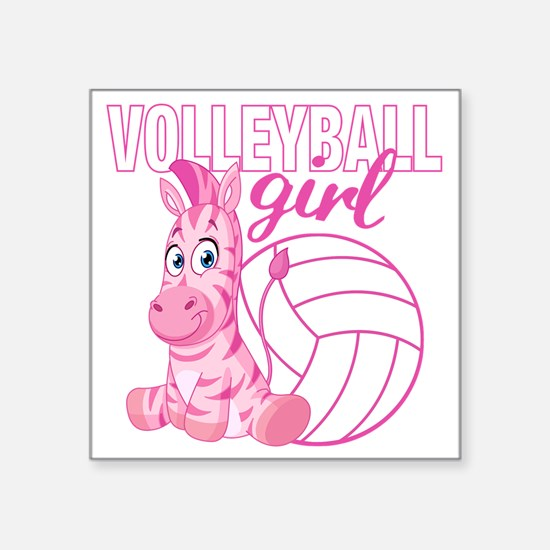 "Volleyball Girl Square Sticker 3"" x 3"""