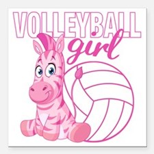 """Volleyball Girl Square Car Magnet 3"""" x 3"""""""