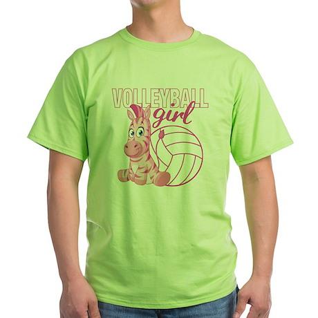 Volleyball Girl Green T-Shirt