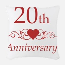20th Wedding Anniversary Woven Throw Pillow