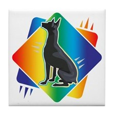 Abstract Rainbow Doberman Tile Coaster
