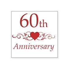 "60th Wedding Anniversary Square Sticker 3"" x 3"""