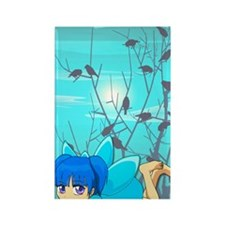 Blue fairy and birds Rectangle Magnet