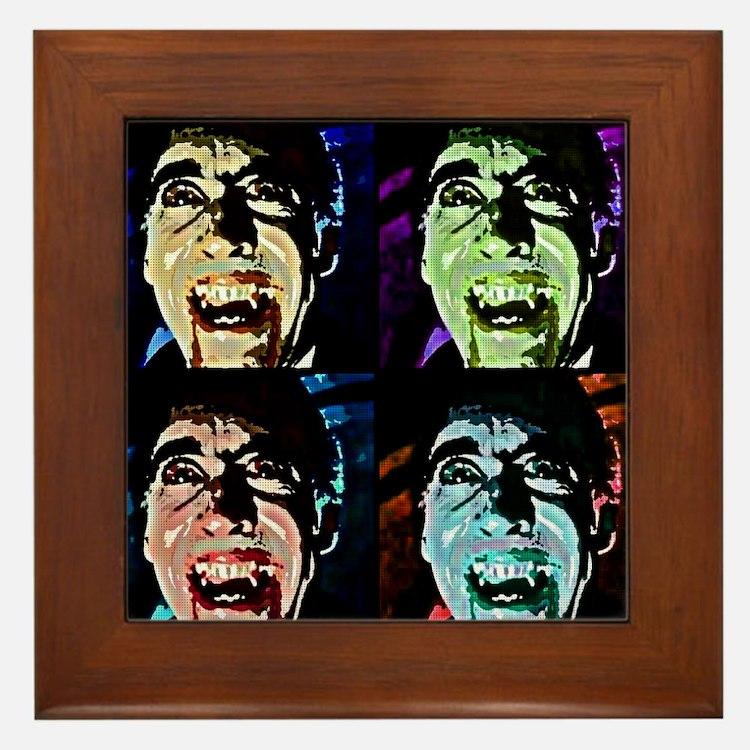 Dracula Pop Art Framed Tile