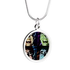 Dracula Pop Art Silver Round Necklace
