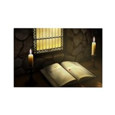 Open Bible Illuminated by Candles Rectangle Magnet