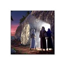 "He Is Risen Square Sticker 3"" x 3"""