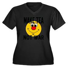 MAKE TEA NOT Women's Plus Size Dark V-Neck T-Shirt