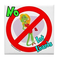 Lot Lizard Warning Sign Tile Coaster