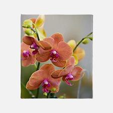 Orange Orchid Throw Blanket