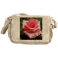 Pink Rose with Dew Messenger Bag