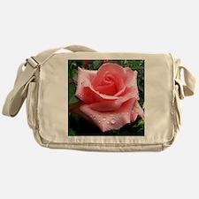 Pink Rose with Dew Messenger Bag