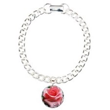 Pink Rose with Dew Charm Bracelet, One Charm
