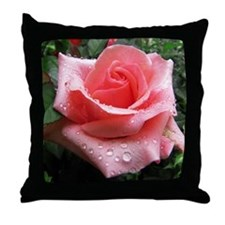 Pink Rose with Dew Throw Pillow