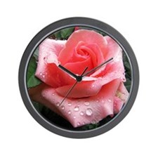 Pink Rose with Dew Wall Clock