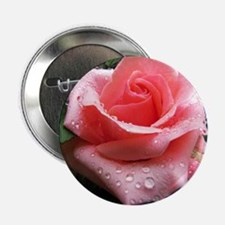 "Pink Rose with Dew 2.25"" Button"