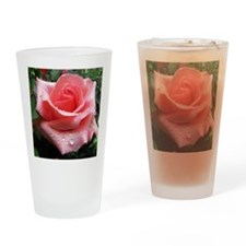 Pink Rose with Dew Drinking Glass