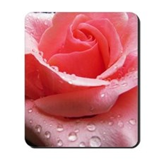 Pink Rose with Dew Mousepad